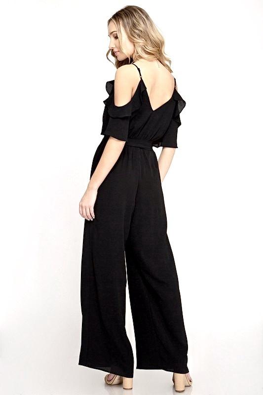 Black Ruffled Cold Shoulder Jumpsuit