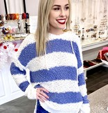 Blue/White Striped Popcorn Hoodie Top