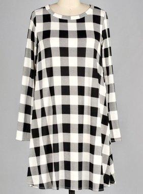 Ivory/Black Buffalo Plaid Dress W/ Pockets