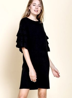 Black Sweater Knit Ruffled Sleeve Dress