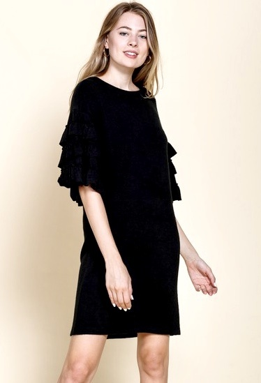 Black Sweater Knit Ruffled Sleeve Dress