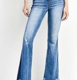 Medium Wash Long Fray Flare Jeans