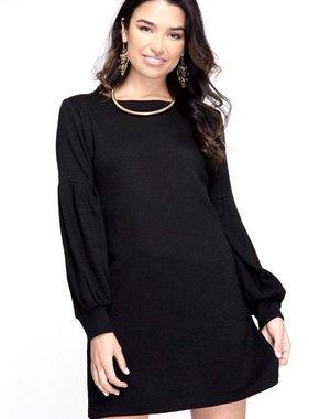 Black Balloon Sleeve Sweater Dress