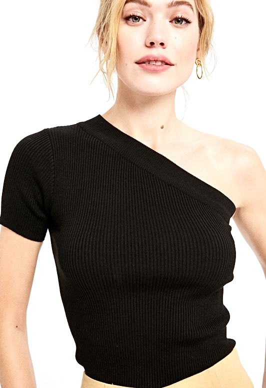 Black One Shoulder Night Out Top