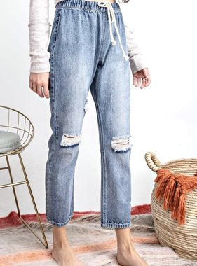 Denim Boyfriend Washed Cargo Pants