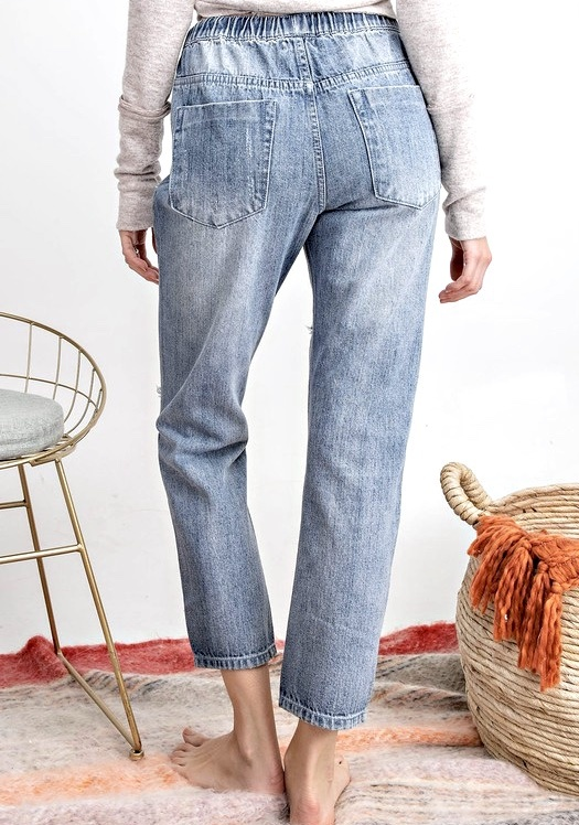 Denim Boyfriend Washed Cargo Pants