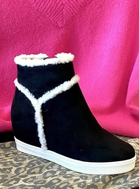 Zoey Black Fur Sneaker Wedge