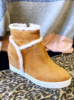 Zoey Tan Fur Sneaker Wedge