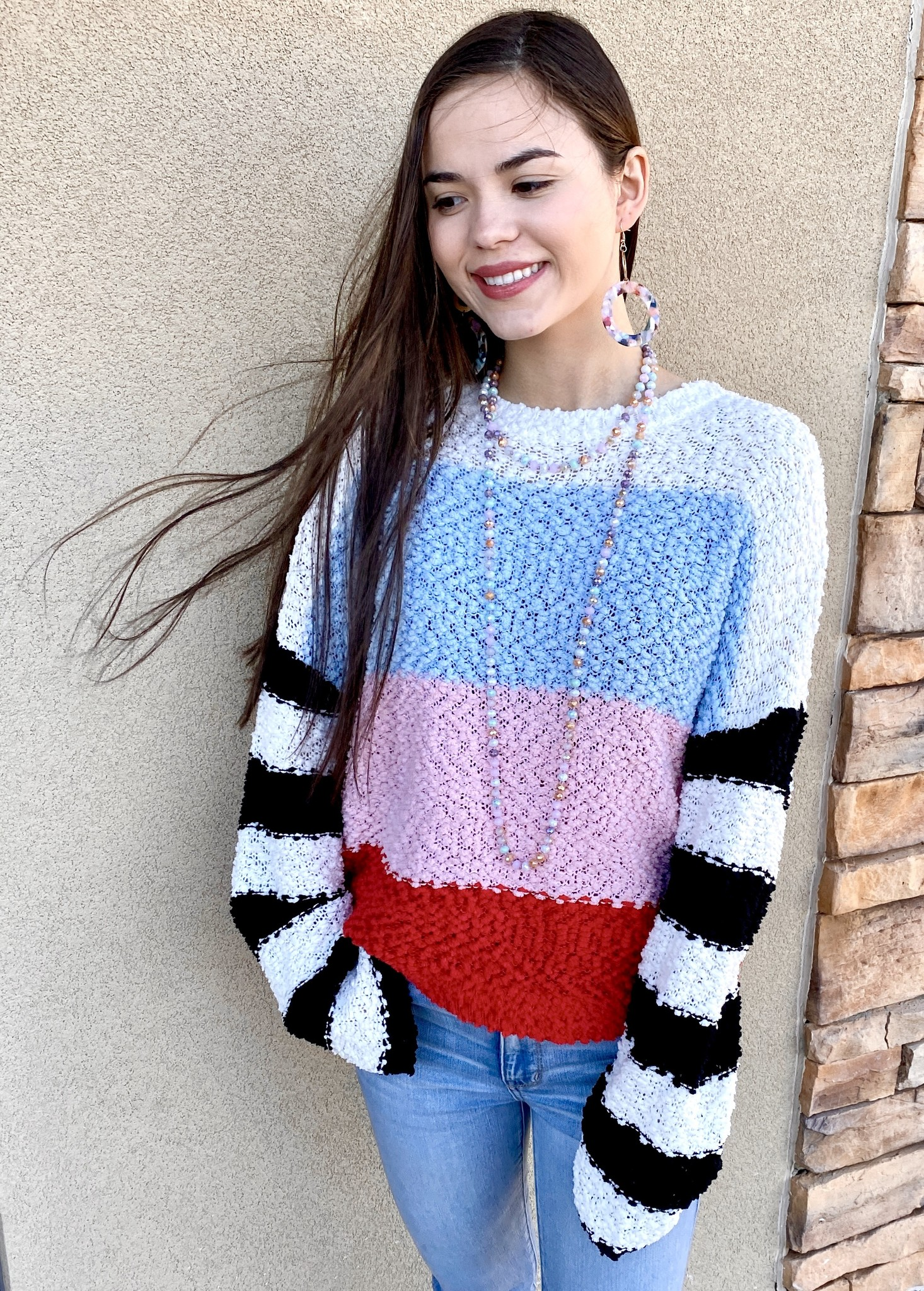 Multi Bright Color Block Sweater