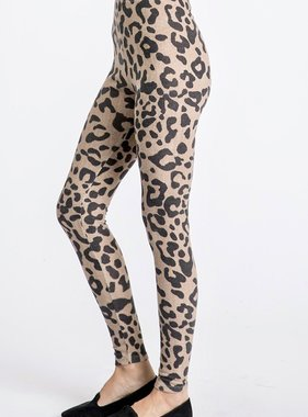 Mocha Leopard Print Fleece Pants