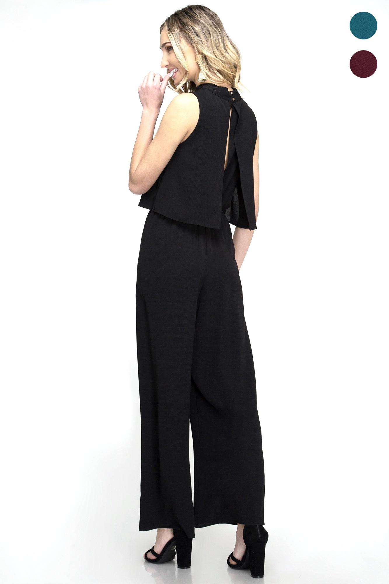 Black Sleeveless Mock Neck Jumpsuit