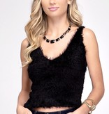 Black Fuzzy Knit Cami Top