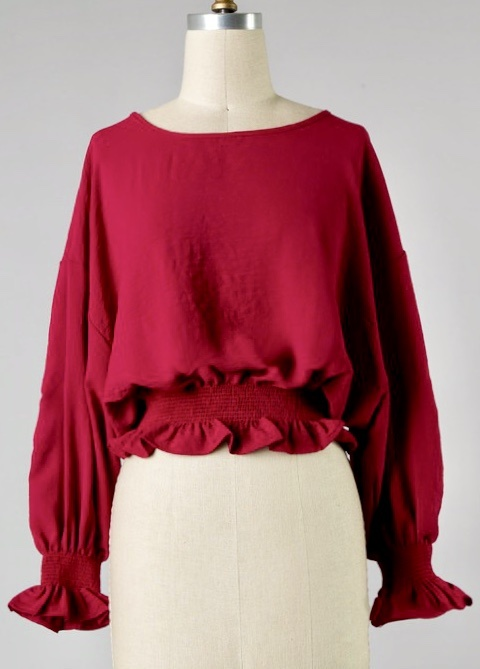 Red Wine Satin Cinched Waist Top
