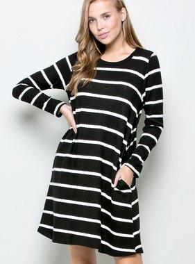 Black/ivory Striped Dress