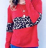 Coral Leopard Color Block LS Top