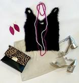Black Fuzzy Knit Cami Top