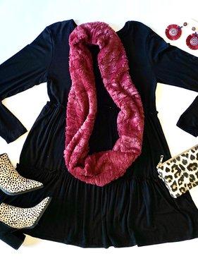 Black Ruffled LS Dress