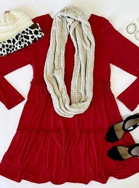 Red Ruffled LS Dress