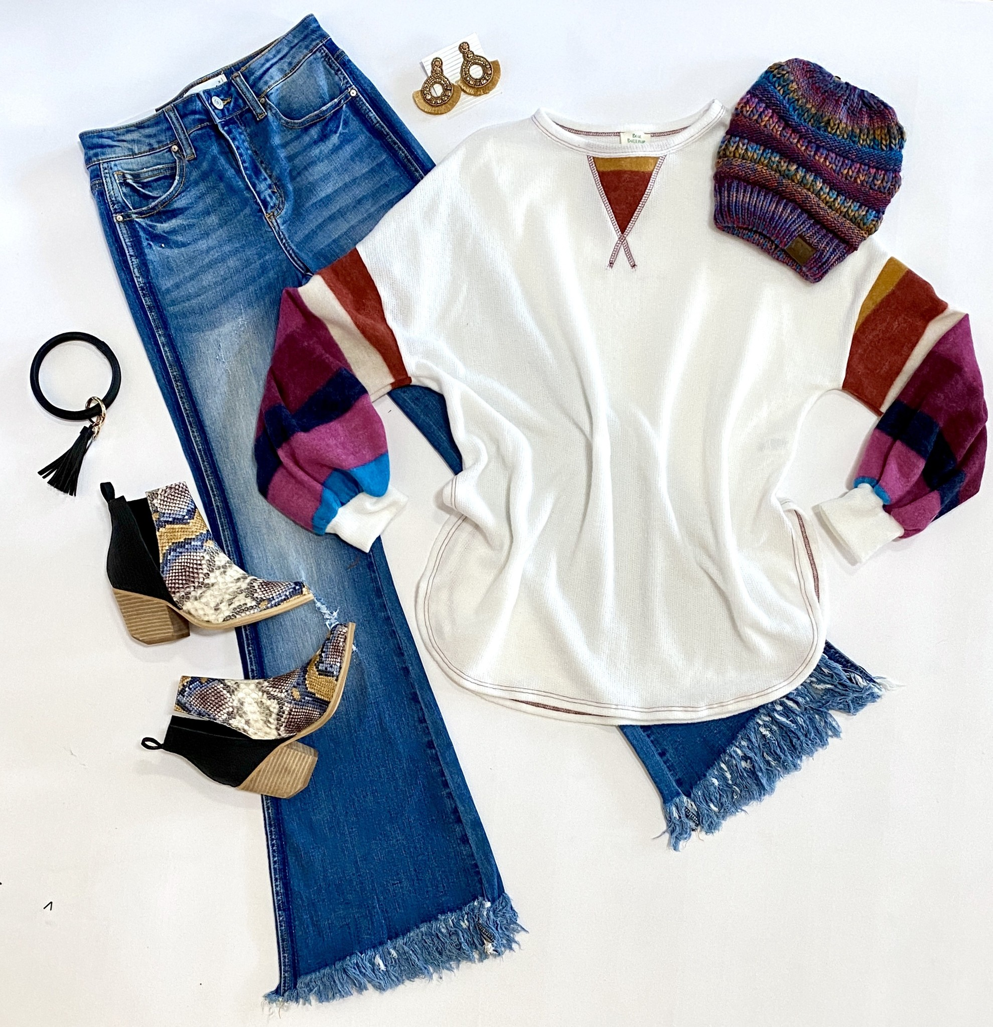 White LS Top w/ Multi Striped Sleeves