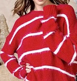 Coral Red Stripe Fuzzy Sweater
