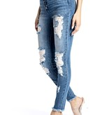 Kan Can High Rise Button Down Skinny Jeans