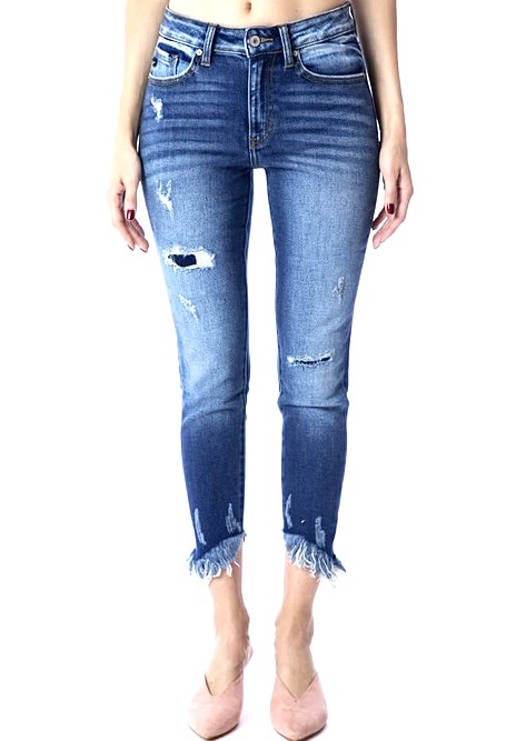Kan Can Mid Rise Skinny W/ Frayed Hem