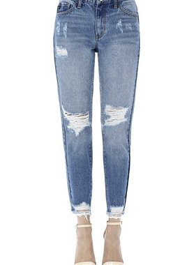 Kan Can High Rise Distressed Hem Skinny