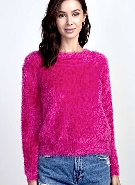 Fuchsia Fuzzy Dreamer Sweater