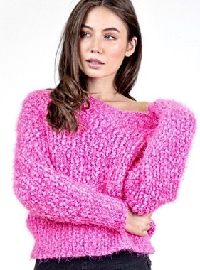 Hot Pink Thick Knit Oversized Sweater