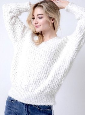 White Thick Knit Oversized Sweater