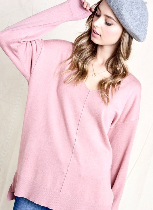 Cozy Together LS Top Blush