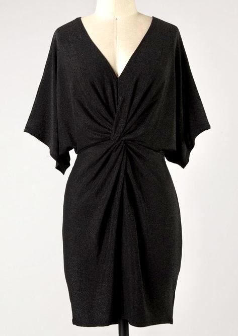 Black Batwing Metallic Dress