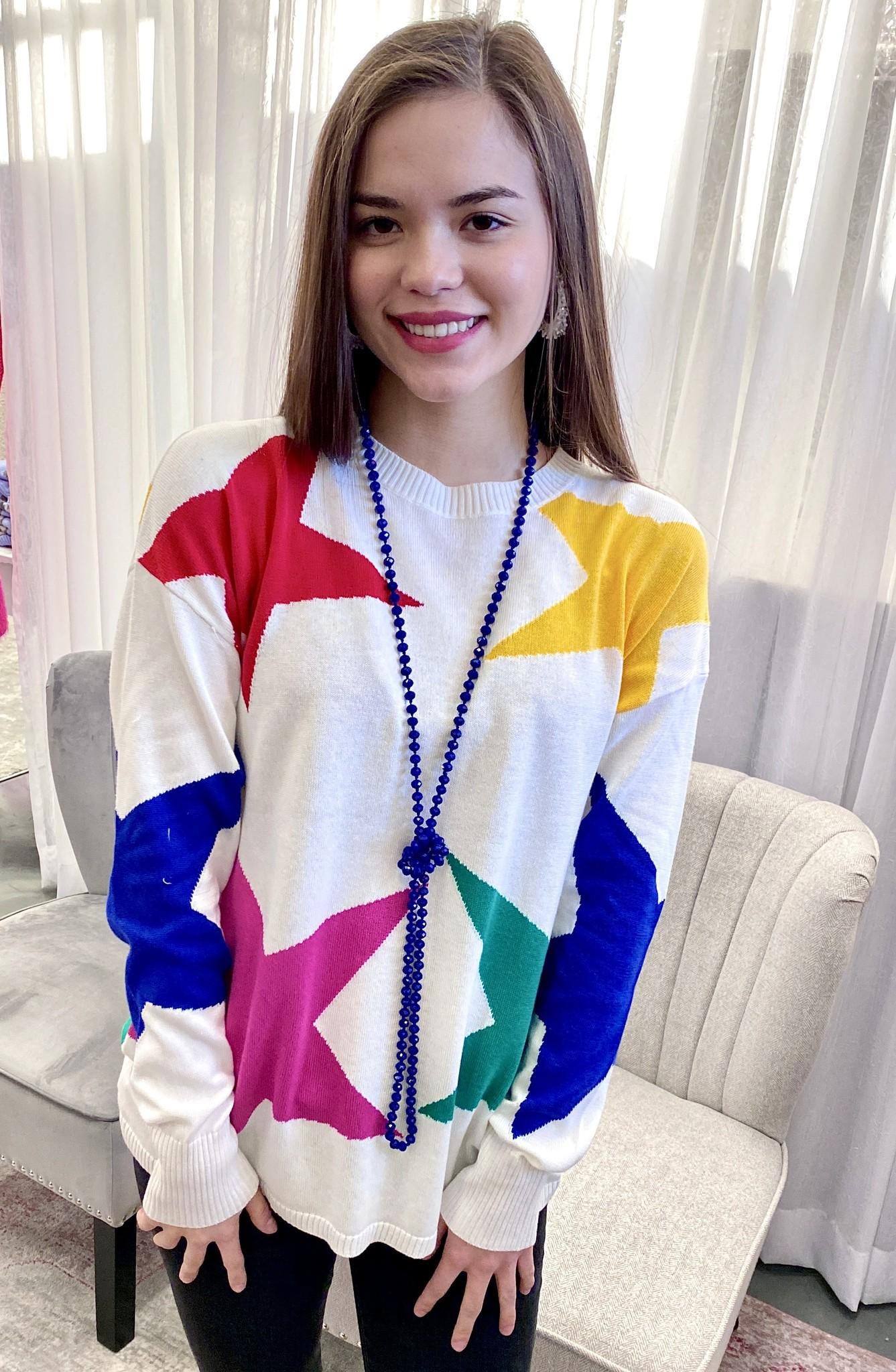 White Multi Color Star Sweater