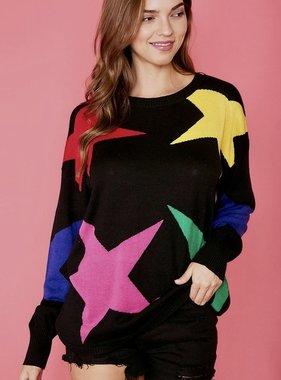 Black Multi Color Star Sweater