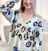 Mint Leopard Distressed Sweater