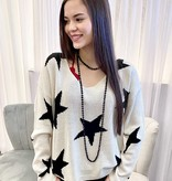 Ivory Star Printed Sweater