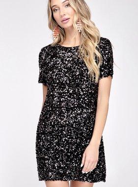 Half Sleeve Sequin Mini Dress