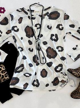 Ivory Leopard Side Tie Top
