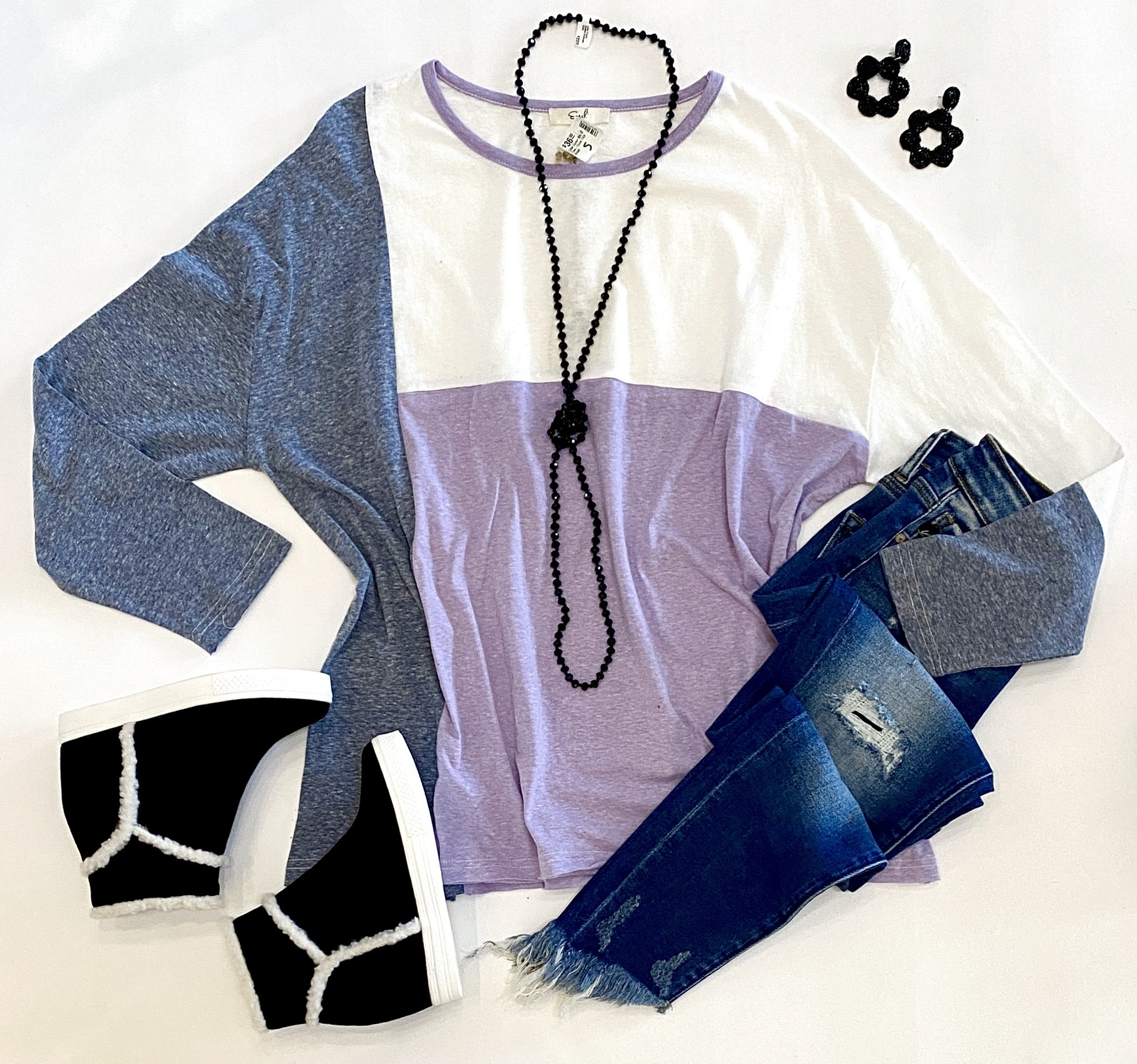 Lilac Color Block Two-Tone Top