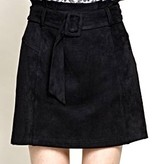 Black Suede Belted Mini Skirt