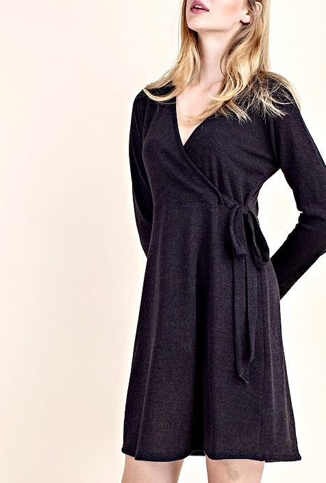 Black Waist Wrap Dress