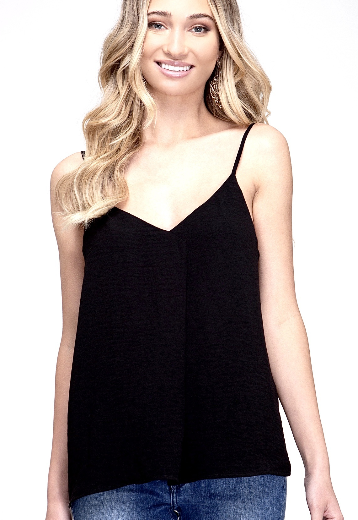 Black Textured Black Cami Top