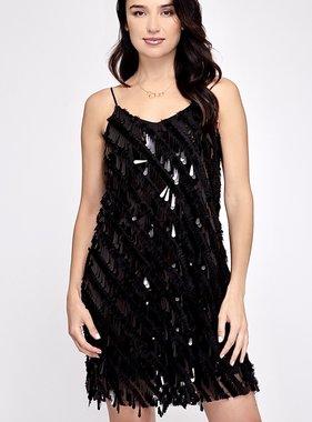 Black Sequin Fringed Cami Dress