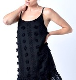 Black Pom-Pom Cami Dress