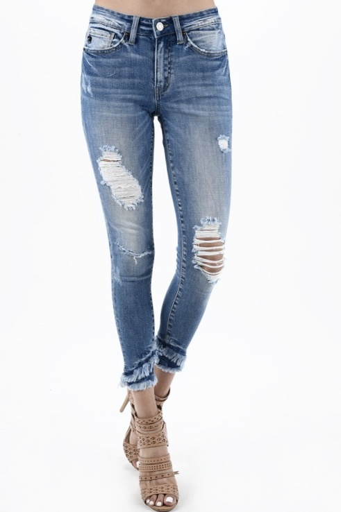KanCan Double Frayed Hem Skinny Jeans