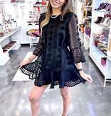 Black Pom-Pom Detail Ruffle Dress