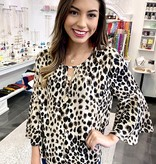 Mocha Leopard Bell Sleeve Top