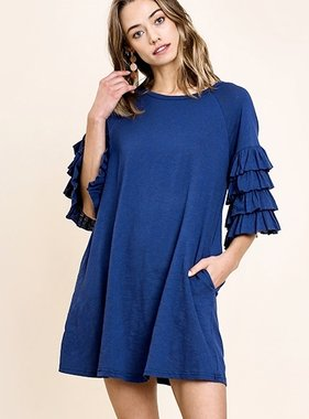 Navy Ruffle Sleeve Dress