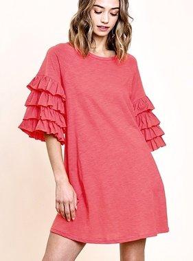 Strawberry Ruffle Sleeve Dress