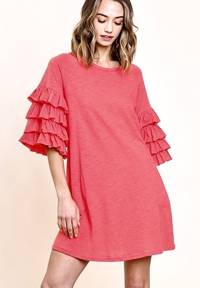 Strawberry Ruffle Sleeve Dress